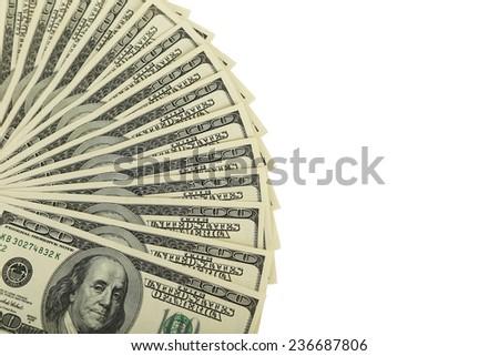 Hundred dollars bill on white background - stock photo