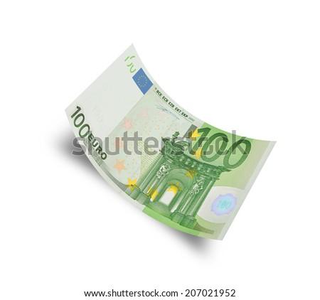 hundred euro banknote on white background - stock photo