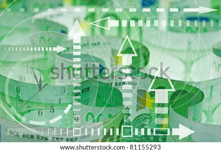 Hundred euro banknotes with financial graph - time and money concept - stock photo