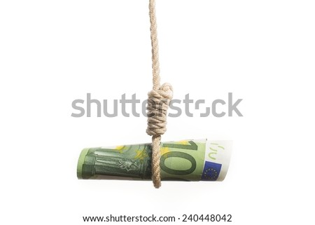 hundred euro bill hanging on the rope - stock photo