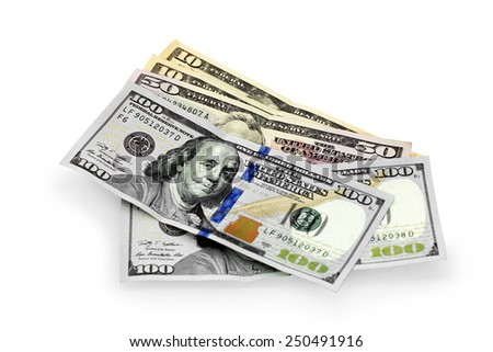hundred, fifty and ten dollars on a white background - stock photo