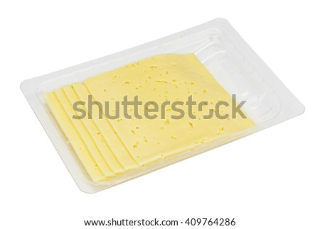 Hundred fifty grams of thinly cut rural cheese in the standard plastic container. Fat content of cheese -  fifty percent. Isolated with patch - stock photo
