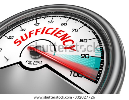 hundred per cent  sufficiency conceptual meter, isolated on white background