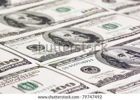 Hundred US dollars close up. Can be used for background - stock photo