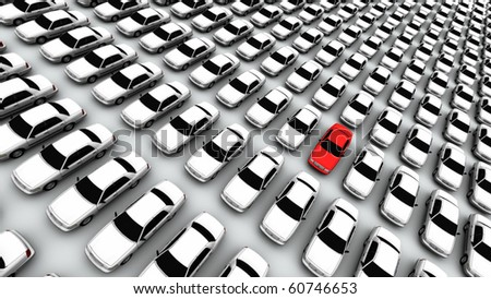 Hundreds of Cars, One Red! - stock photo