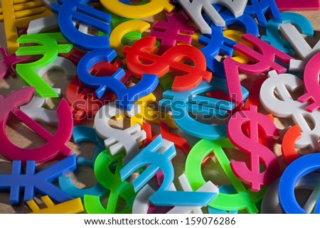 Hundreds of colorful economy icons on recycle paper - stock photo