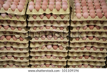 Hundreds of fresh eggs for sale on an urban Istanbul food market.