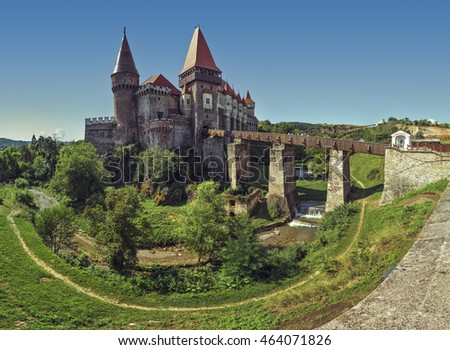 Hunedoara, Romania - July 23, 2016: Corvin Castle or Hunyadi Castle (Romanian: Castelul Corvinilor or Castelul Huniazilor), an imposing Gothic-Renaissance fortification, one of the largest in Europe.