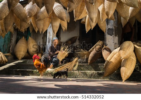Hung Yen, Vietnam - July 9, 2016: Old house yard with many bamboo fish trap, a cock, and female craftsman making traditional bamboo fish trap at her old house in Thu Sy trade village