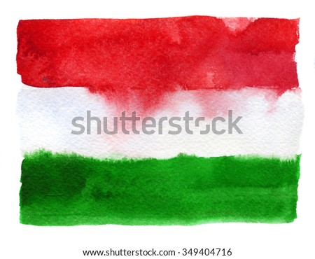Hungarian flag painted with watercolors on white background - stock photo