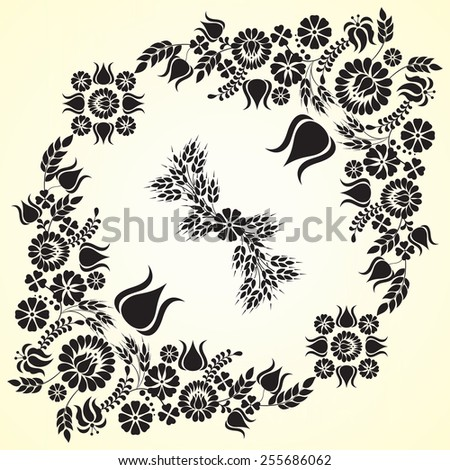 Hungarian floral folk pattern - raster - stock photo