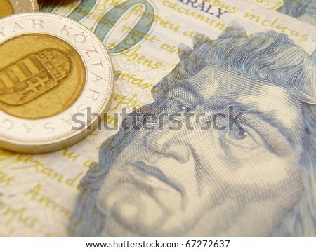 Hungarian Forint currency banknotes and coins