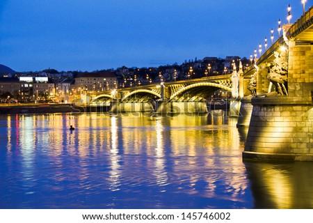 Hungarian landmarks, Chain Bridge - stock photo