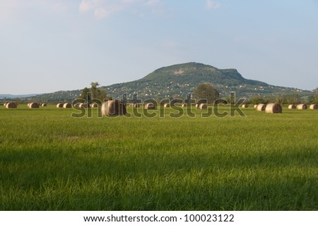 Hungarian landscape, large fields with hay, with in the background an old volcano, photographed near Badacsony/Szigliget, lake Balaton, Hungary - stock photo