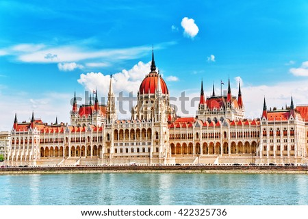 Hungarian Parliament at daytime. Budapest. One of the most beautiful buildings in the Hungarian capital. - stock photo