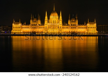 Hungarian Parliament at night with long exposure