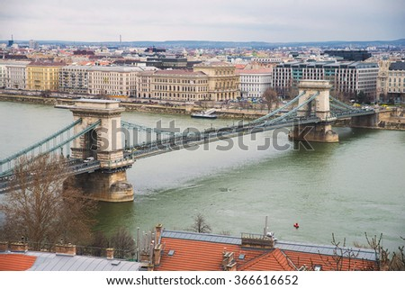 Hungarian Parliament Building and Chain Bridge view from the Buda castle
