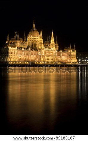 Hungarian parliament with floodlight at night, Budapest - stock photo