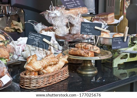 Hungarian pastry on a stand at christmas fair in Budapest - stock photo