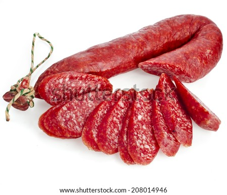 Hungarian smoked sausage with paprika isolated on white background - stock photo