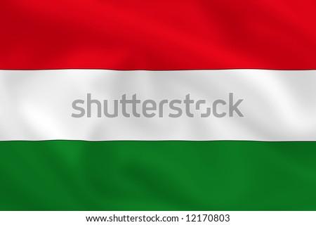 Hungarian waving flag - stock photo