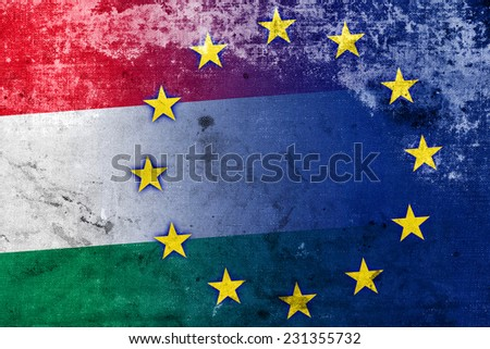 Hungary and European Union Flag with a vintage and old look - stock photo
