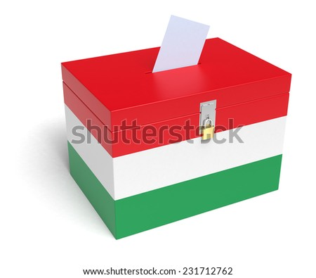 Hungary ballot box with Hungarian Flag. Isolated on white background. - stock photo