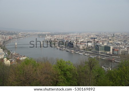 Hungary. Budapest. City view. River and roofs.