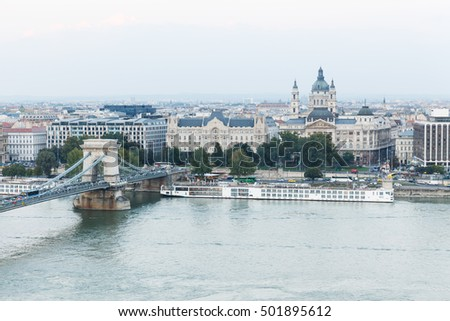 Hungary. Budapest. View on Danube, Chain Bridge and St. Stephen's Basilica