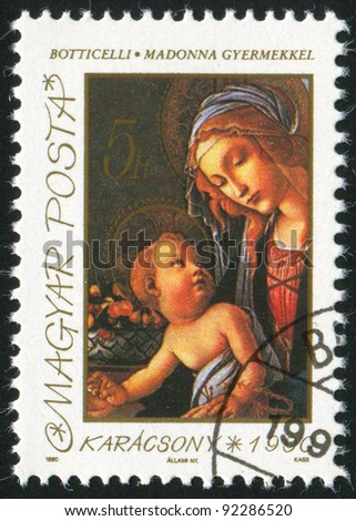HUNGARY - CIRCA 1990: A stamp printed by Hungary, shows madonna and child, circa 1990 - stock photo