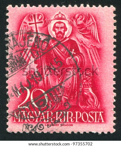 HUNGARY - CIRCA 1937: A stamp printed by Hungary, shows Saint Stephen enthroned, circa 1937