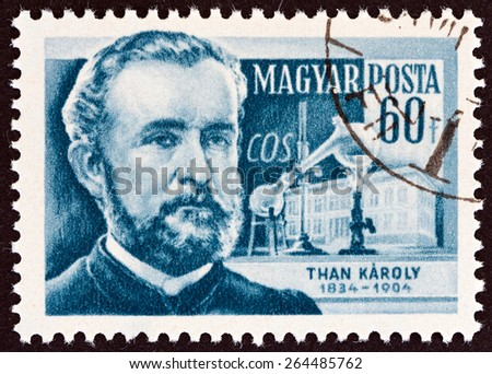 """HUNGARY - CIRCA 1954: A stamp printed in Hungary from the """"Scientists """" issue shows  chemist Than Karoly (1834-1904), circa 1954.  - stock photo"""
