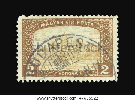 HUNGARY - CIRCA 1924: A stamp printed in Hungary showing Budapest circa 1924