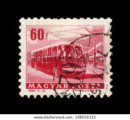 "HUNGARY - CIRCA 1963: A stamp printed in Hungary shows a trolley bus, from the ""Transport and Communications"" series, circa 1963."