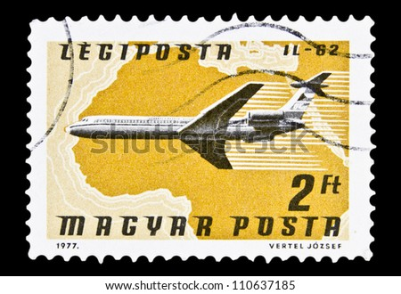 "HUNGARY - CIRCA 1977 : A stamp printed in Hungary, shows Airlines and Maps with the inscription ""IL-62"", from the series ""Airpost"", circa 1977"