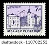 """HUNGARY - CIRCA 1973: A stamp printed in Hungary shows Cityscape of Kaposvar, with the same inscription, from the series """"Hungarian Cityscapes"""", circa 1973 - stock photo"""