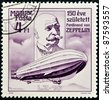 HUNGARY - CIRCA 1988: A stamp printed in Hungary shows count Ferdinand von Zeppelin, circa 1988 - stock photo