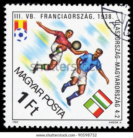 HUNGARY - CIRCA 1982: A stamp printed in Hungary shows football, circa 1982