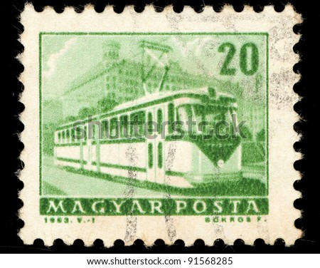 HUNGARY - CIRCA 1963: A stamp printed in Hungary shows image of a trolley bus, series, circa 1963