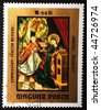 HUNGARY - CIRCA 1973: A stamp printed in Hungary shows image of two woman at a high altar, circa 1973 - stock photo