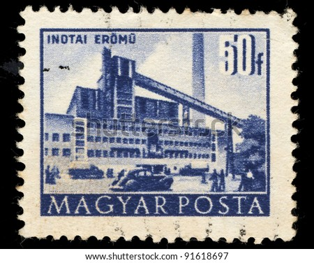HUNGARY - CIRCA 1960: A Stamp printed in Hungary shows industrial buildings in Inotai Eromu, circa 1960