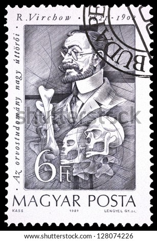 "HUNGARY - CIRCA 1989: A stamp printed in Hungary, shows portrait of Rudolf Virchow (German pathologist), 1821 - 1902, with the same inscription, from series ""Pioneers of Medicine"", circa 1989"