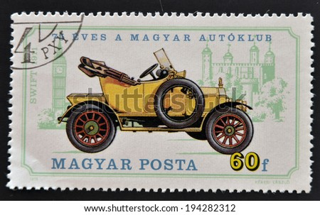 HUNGARY - CIRCA 1975: A stamp printed in Hungary shows retro car, circa 1975
