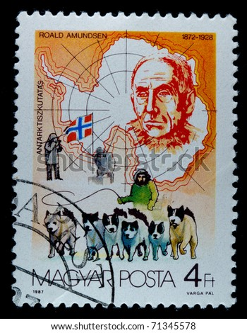 HUNGARY - CIRCA 1987: A stamp printed in Hungary shows Roald Amundsen , antarktis expedition, circa 1987