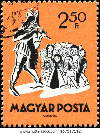 HUNGARY - CIRCA 1959: A stamp printed in  Hungary shows The Pied Piper of Hamelin, Fairy Tale, circa 1959