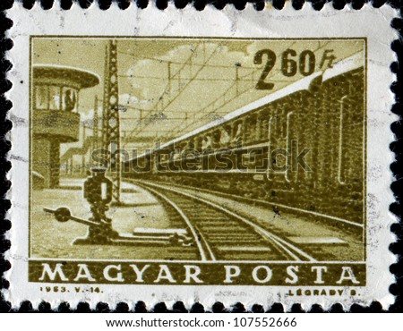 HUNGARY-CIRCA 1963: A stamp printed in Hungary shows trainy, circa 1963
