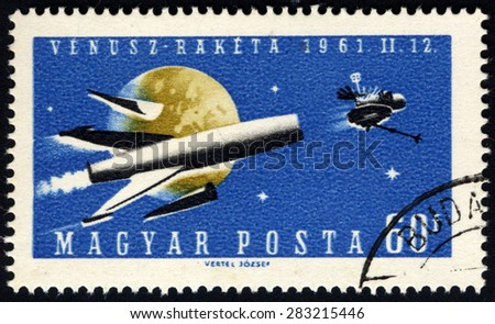 HUNGARY - CIRCA 1961: A stamp printed in Hungary, shows venusz-raketa 1961.11.12, circa 1961 - stock photo