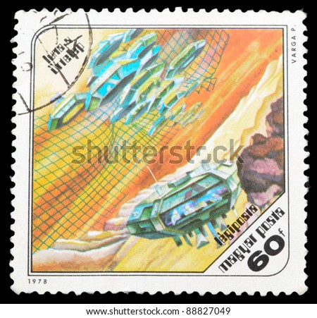 HUNGARY - CIRCA 1978: An airmail stamp printed in Hungary shows a space ship, series, circa 1978. - stock photo