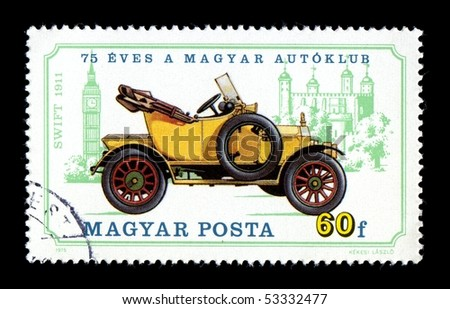 HUNGARY - CIRCA 1975:  Canceled postage stamp depicting antique auto car obsolete Swift. Circa 1975
