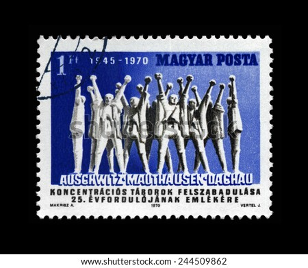HUNGARY - CIRCA 1970: cancelled stamp printed in Hungary, shows Monument to Hungarian Martyrs, circa 1970. 25th anniversary of the liberation of the concentration camps Auschwitz, Mauthausen, Dachau. - stock photo